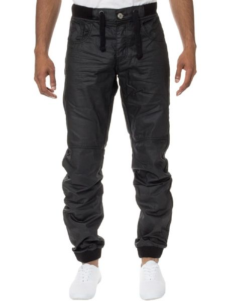 iDenim Men's Designer Black Cuffed Bottom Jogger Elasticated Jeans